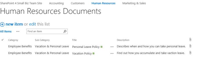 HR Document Custom List