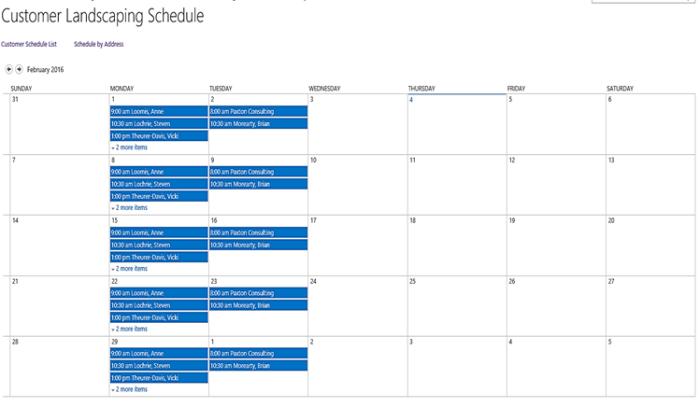 Customer Landscaping Calendar